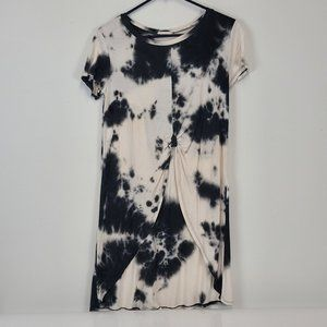 Aran's Den Tie Dye Front Tie High Low Long Top Med